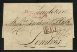 1821 - Entire Letter - France Bordeaux To London - Paris Transit Cancel - Postmark Collection (Covers)