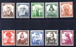 Costumes Régionaux, 547 / 556*, Cote 47,50 €, - Unused Stamps