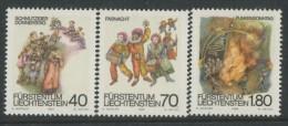 BL3-311 LIECHTENSTEIN 1983 YV 759-761 CARNAVAL. MNH, POSTFRIS, NEUF**. - Carnaval