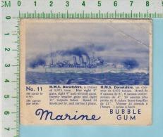 """Marine Bubble Gum Series, C 1941 ( No.11 H.M.S. Dorsetshire Cruiser )  Bilingue Français & Anglais """"English"""" - 1939-45"""