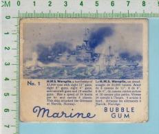 "Marine Bubble Gum Series, C 1941 ( No.1 H.M.S. Warspite Battleship )  Bilingue Français & Anglais ""English"" - 1939-45"