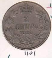 @Y@   Joegoslavie 2  Dinar  1925   (1101  ) - Yougoslavie