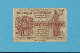 CÉDULA De 10 CENTAVOS - SÉRIE A57 - CASA DA MOEDA - PORTUGAL - EMERGENCY PAPER MONEY - NOTGELD - Portugal