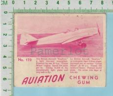"""Aviation Chewing Gum Series, C 1941 ( No.173 British Swallow Monoplane )  Bilingue Français & Anglais """"English"""" - 1939-45"""