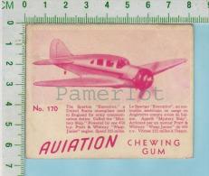 """Aviation Chewing Gum Series, C 1941 ( No.170 Spartan Executive Monoplan )  Bilingue Français & Anglais """"English"""" - 1939-45"""