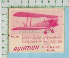 """Aviation Chewing Gum Series, C 1941 ( No.158 DeHaviland Tiger Moth Biplan ) Bilingue Français & Anglais """"English"""" - 1939-45"""