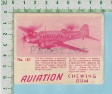 """Aviation Chewing Gum Series, C 1941 ( No.157 Avro Anson Bomber ) Bilingue Français & Anglais """"English"""" - 1939-45"""
