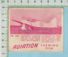 """Aviation Chewing Gum Series, C 1941 ( No.154 New Fleet-""""60"""" Trainer ) Bilingue Français & Anglais """"English"""" - 1939-45"""