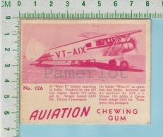 """Aviation Chewing Gum Series, C 1941 (No.126 Waco C Biplane India) Bilingue Français & Anglais """"English"""" - 1939-45"""