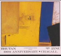 O) 1988 BHUTAN, GOAT-PAINTING-CHAGALL, SOUVENIR MNH. - Bhutan