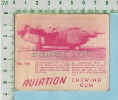 """Aviation Chewing Gum Series, C 1941 (No.118 Consolidated B-24 Bomber ) Bilingue Français & Anglais """"English"""" - 1939-45"""