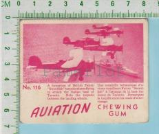 """Aviation Chewing Gum Series, C 1941 (No.116 British Fairey Swordfish Torpedoplane) Bilingue Français & Anglais """"Engl - 1939-45"""