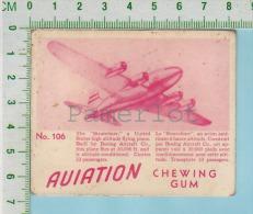 """Aviation Chewing Gum Series, C 1941 (No.106 Stratoliner  High Altitude  ) Bilingue Français & Anglais """"English"""" - 1939-45"""