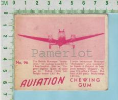 """Aviation Chewing Gum Series, C 1941 (No.96 Monospar Ambulance ) Bilingue Français & Anglais """"English"""" - 1939-45"""