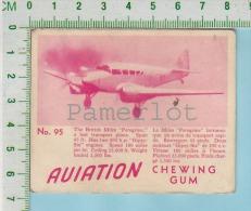 """Aviation Chewing Gum Series, C 1941 (No.95 Miles Peregrine Transport ) Bilingue Français & Anglais """"English"""" - 1939-45"""