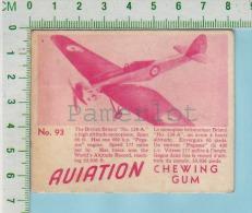 """Aviation Chewing Gum Series, C 1941 (No.93 British Bristol No. 138A High Altitud ) Bilingue Français & Anglais """"Engl - 1939-45"""