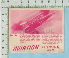"""Aviation Chewing Gum Series, C 1941 (No.84 Dehaviland Tiger Moth Trainer ) Bilingue Français & Anglais """"English"""" - 1939-45"""