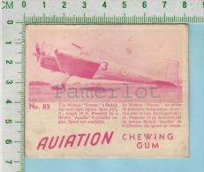 """Aviation Chewing Gum Series, C 1941 (No.83 Vickers Venom Day Night Fighter ) Bilingue Français & Anglais """"English"""" - 1939-45"""