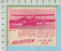 """Aviation Chewing Gum Series, C 1941 (No.78 British Short Singapore Flying-boat ) Bilingue Français & Anglais """"Englis - 1939-45"""