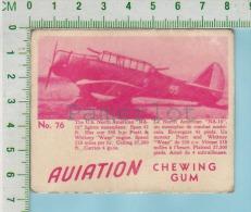 """Aviation Chewing Gum Series, C 1941 (No.76 US NA-16 Fighter Monoplane) Bilingue Français & Anglais """"English"""" - 1939-45"""