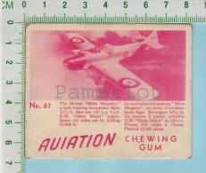 """Aviation Chewing Gum Series, C 1941 (No.67 Miles Magister Light Treaning Plane) Bilingue Français & Anglais """"English - 1939-45"""