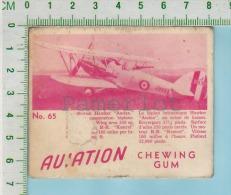 """Aviation Chewing Gum Series, C 1941 (No.65 Hawker Audax  Liaison ) Bilingue Français & Anglais """"English"""" - 1939-45"""