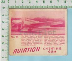 """Aviation Chewing Gum Series, C 1941 (No.61 Avro Anson Coastal Reconnaissance ) Bilingue Français & Anglais """"English"""" - 1939-45"""