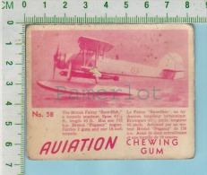 """Aviation Chewing Gum Series, C 1941 (No.58 British Fairey Swordish Torpedo ..) Bilingue Français & Anglais """"English"""" - 1939-45"""