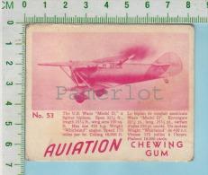 """Aviation Chewing Gum Series, C 1941 (No.53 US Waco Model D.  Fighter Biplane ) Bilingue Français & Anglais """"English"""" - 1939-45"""