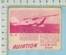 """Aviation Chewing Gum Series, C 1941 (No.43 US Bellanca  Bomber ) Bilingue Français & Anglais """"English"""" - 1939-45"""