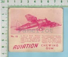 """Aviation Chewing Gum Series, C 1941 (No.22 A Fleet Of British Westland Lysander ) Bilingue Français & Anglais """"Engli - 1939-45"""