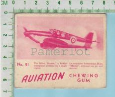 """Aviation Chewing Gum Series, C 1941 (No.21 The Miles Master Monoplane) Bilingue Français & Anglais """"English"""" - 1939-45"""