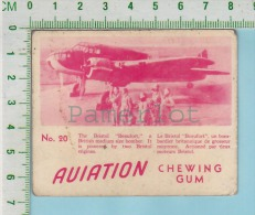 """Aviation Chewing Gum Series, C 1941 (No.20 Bristol Beaufort Bomber ) Bilingue Français & Anglais """"English"""" - 1939-45"""