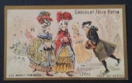 Ancien Chromo  Chocolat Félix Potin Les Modes Comiques 1760 - Sur La Glace Patinage Patins Personnages - Non Classés