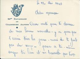 312Fb  Carte De Correspondance Avec Insigne Blason En Relief 24 Eme Bataillon De Chasseurs Alpins - Régiments