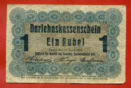 GERMANY OCCUPATION OF LITHUANIA WWl POSEN 1 RUBEL 1916 P R122 W726 - [ 9] Territori Tedeschi Occupati