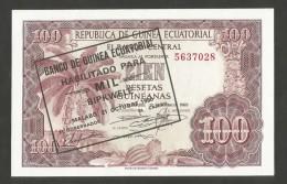 [NC] REPUBLICA De GUINEA EQUATORIAL - 100 PESETAS GUINEANAS (1969 - COUNTERSTAMP 1980) - Guinea Ecuatorial