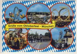 """MÜNCHEN - OKTOBERFEST, """"Wies´n"""", Mehrfachansicht: Löwenbräu, Bier-Zug, Achterbahn, Riesenrad - Muenchen"""