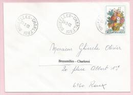 Belgique - Ambulants - Bruxelles-Charleroi Sur Lettre - Timbre Fleurs N°1968 De 1980 - Obl. 24-3-60 (?) - Ambulantes