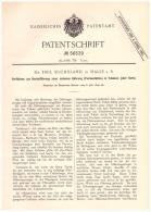 Original Patentschrift - Dr. Emil Suchsland In Halle A.S., 1890 , Tabak - Gährung , Cigarette , Cigarren , Nikotin !!! - Historische Dokumente