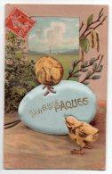 Cpa En Relief - Joyeuses Pâques (Poussins - Oeuf Rembourré Couvert De Tissu) 1908 - Pâques