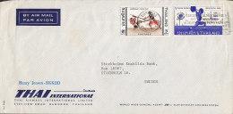 Thailand Airmail Par Avion THAI International BANGKOK 1967 Cover To Sweden Sports Stamp Cudgel Play Weight Lifting - Tailandia