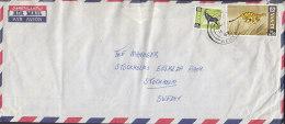 Kenya Airmail Par Avion BARCLAYS BANK, THIKA 1967 Cover To STOCKHOLM Sweden Antilope & Cheetah Stamps (2 Scans) - Kenia (1963-...)