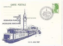 TRAIN France - Entier Postal Limoges 1987 (timbre Imprimé) - Congrès De La Fédération Française De Modélisme Ferroviaire - Postal Stamped Stationery