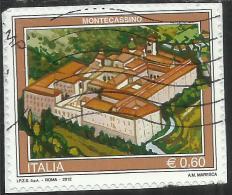 ITALIA REPUBBLICA ITALY REPUBLIC 2012 PROPAGANDA TURISTICA TOURISM MONTECASSINO USATO USED OBLITERE´ - 6. 1946-.. Repubblica