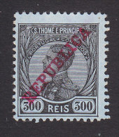 St. Thomas And Prince Island, Scott #115, Mint No Gum, King Manuel II Overpinted, Issued 1912 - St. Thomas & Prince