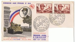 13/6/1953 - FDC - Le Général LECLERC Maréchal De France - Oblit. Ill. Kermesse Aux étoiles - Yvert & Tellier N° 942 - FDC