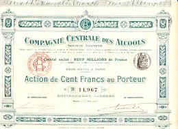 ACTION 100 FRANCS -COMPAGNIE CENTRALE DES ALCOOLS  -1913 - Aandelen