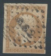 Lot N°24043   Variété/n°13Ac Bistre Brun, Oblit Losange AS2 De PARIS, Filet OUEST - 1853-1860 Napoleon III