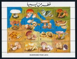 Mushrooms M/S Pilze Kleinbogen °BX0040 MNH - Libyen